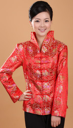 Wholesale Traditional Chinese Tang mounted coat Red