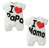 Wholesale I LOVE PAPA MAMA baby rompers toddler bodysuits infant one piece shortall jumpsuits pajamas babywear overall kimono shorts tops L167