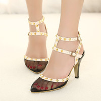 Wholesale 2013 new high heeled sandals pointed Decorative wire mesh stock