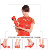 PU ballet prints - 2016 New Arrived bride wedding shoes classic chinese style cheongsam shoes red flat heel bridal shoes