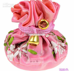 Travel Round Bottom Drawstring Jewellery Ball Gift Bag 8 Ring Necklace Pocket Packaging Silk Cloth Ribbon embroidery Storage Pouch 10pcs lot