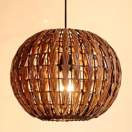 Southeast Asia Lantern Rattan Dining Room Ceiling Pendant Light Study Room Pendant lamp Handmade Restaurant Pendant Fixture
