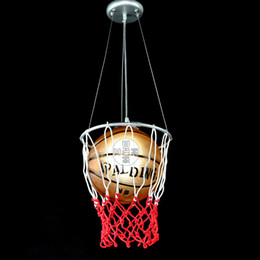 "9.8"" Glass Basketball Football with Net Kid's Bedroom Pendant Light FREE Shipping Modern Children's Study Room Creative Cord Pendant light"