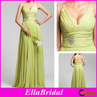 Real Photos Ruffle Sleeveless Lime Green Chiffon Pleated Beaded A Line Floor Length V Neck Spaghetti Straps Bridesmaid Dresses Formal Evening Party Gown Dress 00403329