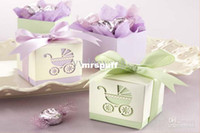 Wholesale Baby s Day Out Laser Cut Carriage Cube Pram Shower Favor Candy Boxes Wedding Party Gift Bags Holders
