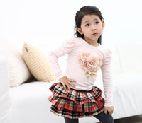 90-100-110-120-130(5sizes) Children's Day Girl children autumn cute Yarn flower Pattern Star heart long-sleeved t-shirt kid T shirt girls long sleeved White & Pink Choose 2-7T,10pcs lot
