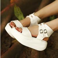 Wholesale 2013 European sandals fish mouth slope platform shoes Rome shoes sandals black white color hasp sandals SS039