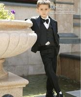 Wholesale New Kid Complete Designer Boy Wedding Suit Boys Attire Custom made Boy Formal Wear Suit Jacket Pants Tie Vest F69