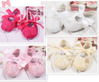 Wholesale Baby Infant Shoes Adorable Children Toddlers First Walkers Lace Shoes Pretty Fancy Ribbon Bow Shoes White Pink Rose Red Yellow Cute