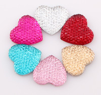 Wholesale 20MM Heart Shape Flatback Resin Beads Rhinestone Beads Flat Back Stick On Cabochons Embellishment Jewelry DIY Fit Glue