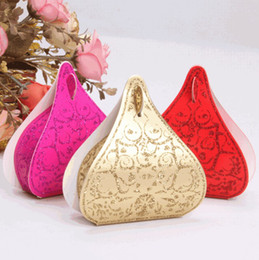 Wholesale Hershey chocolate box Gold Red Rose Red Pink European Romantic Shinning Water Droplets Peach Heart Wedding Candy Boxes Wedding Favors Box