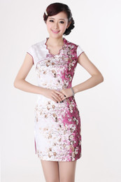 Wholesale Traditional Chinese Tang Mounted Cheongsam Safflower