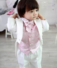 Wholesale Kid Clothing New Style Complete Designer Boy Wedding Suit Boys Attire Jacket Pants Tie Vest C810W