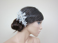 Wholesale 2013 birdcage veil wholesal Real images in stock beaded pearls lace sparkling grace elegant perfect for bridal Style A111