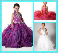 Halter Beads Organza Custom 2013 Beadwork Halter Ball Gown Little Girls Pageant Dress Layered Organza Skirt Girl's Princess Party Dresses Toddler Pageant Gowns
