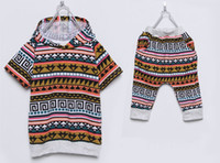 Wholesale Summer Baby Boy s Boho Clothing Suits Short Sleeve New Style Chic Pattern Top T Shirt Shorts Pants Pc Set Kids Fashion Casual Clothes