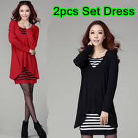 Wholesale 2PCS Set Ladies Plus Size Long Sleeve Stripes Sundress Spring Autumn Winter Two piece Tube Knee Length OL Dresses Size XL XXXXL