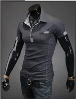 Men Cotton Blend Cotton Drop shipping Free dhl ems Send 10pcs lot 2013 Summer Men's Short Sleeve POLO Shirt Sports T-shirt 2 COLORS Size M-XXL CL0204