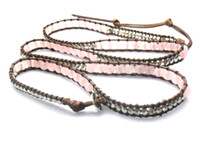 western Unisex Party Natural Pink Round Rose Quartz 6mm beads wrap bracelet new design handmade wrap immitation leather bracelet