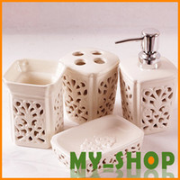 Wholesale Bathroom Furniture Pieces Ceramic Lotion Bottle Toothbrush Plug Cup Soap Dish White Carved Bath Sets