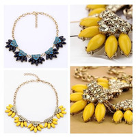 adorn flower - Flower choker fashion neon resin women short necklace adorned with clear crystals K gold finish collar necklace jewelry gift