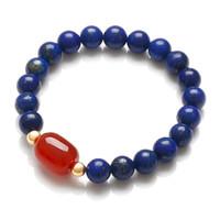 AA grado de piedras naturales Hábitat bienaventuranza pulsera del embutido lapis lazuli abalorios de ónix con Red Verde Lan Meng
