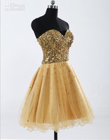 Wholesale 2016 New Custom Made Gold Tulle Cheap Short Homecoming Dresses Mini Prom Gowns Knee length Dress