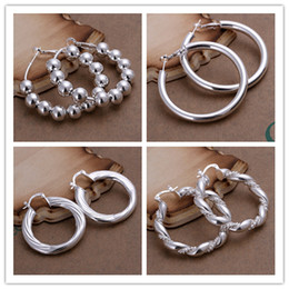 Wholesale Mixed Orders Top quality sterling silver plated hoop earrings classic fashion jewelry pair