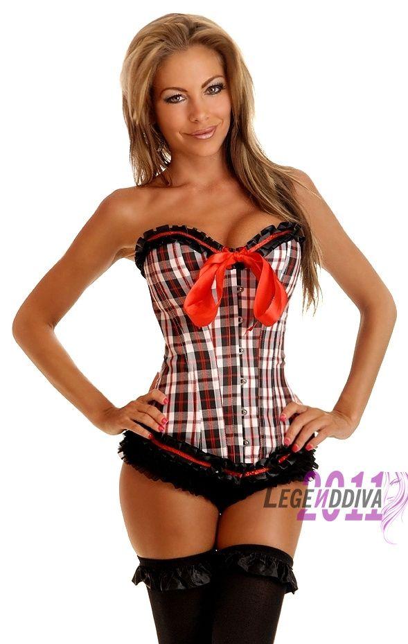Ladies  Lingerie Corset Underbust Boned Lace up Back Sexy Red Lattice    Lingerie Corset Underbust