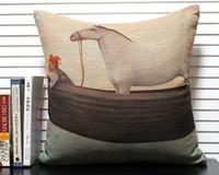 horse decor - Elegant oil painting European style Royal man horse boat pattern cushion cover car boat home decor throw pillow case