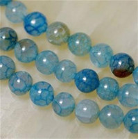Wholesale 8mm Blue Dragon Veins Agate Round Gemstone Loose Beads