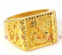 Wholesale fashion yellow gold men s dragon ring