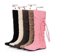 Wholesale New Women s Suede Flat Boots Winter Thigh High Boots Over The Knee color Boots Shoes free shippin