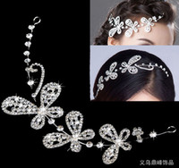 Wholesale elegant Style Wedding party Bridal Jewelry crystal butterfly headpiece headdress hair accessories hair Tiara headband jt008