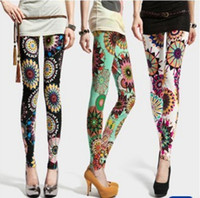 baroque tights - 2015 New Summer Casual Pants Fashion Baroque Flower Leggings Wheel Slim Thin Tights Pants Women s Ankle Length Trousers