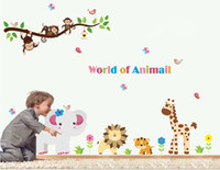 Wholesale funlife Colorful World Of Animal Forest Friends Money Lion Giraffe Kids Room Art Mural Stickers Decals Wall Paper