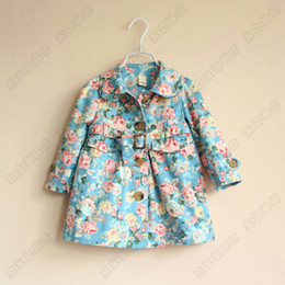 Wholesale baby girl kids spring autumn cotton long sleeve vintage rose flower floral trench coat cardigan blazers outfit Jacket dress waistband belt