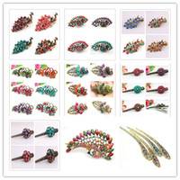 Wholesale Hot Sale Girl Mix Vintage Peacock Flower Pheonix Hairpins Hair Clips Clamps Resin Crystal Barrettes Mix Hair Jewelry Random