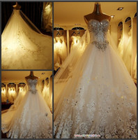 Wholesale 2013 Newest Luxury bride dress Sweetheart Swarovski crystals Applique Bead cathedral wedding dresses