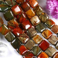 Wholesale 14MM SQUARE PICASSO JASPER GEMSTONE LOOSE BEADS STRAND AAA