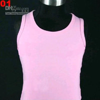 Wholesale girls plain white pink black hot pink pettiskirts tops sleeveless t shirts tank tops zv
