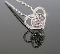 Wholesale 24pcs Wedding Bridal Jewelry heart shaped hair Pin crystal headpiece hairpins hair pin hair accessories w237