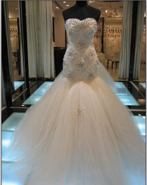 Wholesale Unique design Actual Images New Sweetheart Beautiful Applique Beading Tulle skirt Chapel train Mermaid Wedding Dresses Bridal Dresses