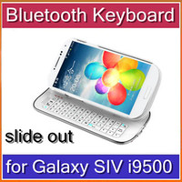 Wholesale HKpost Bluetooth Keyboard Hardshell Case For Samsung Galaxy SIV S4 i9500 white black SA