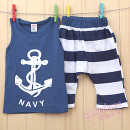 Wholesale Summer Baby Girls Boy s Clothes Suits Sleeveless Vest The Anchor Pattern Tops Striped Shorts Pants Pc Set Kids Sport Clothing