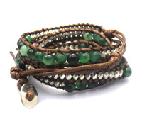 Wholesale 6mm natural blue green flower general jade beads wrap bracelet new design handmade wrap immitation leather bracelet