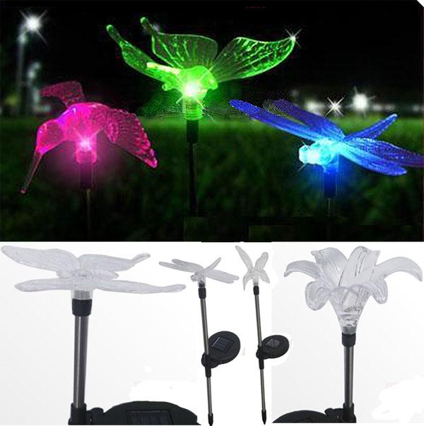 4 Designs Solar Powered LED Lamps Garden Path Light,LED Lawn Lights,Garden  Street Chromatic Outdoor Lamp,butterfly Dragonfly Bird Flower Solar Lawn  Lamp ...