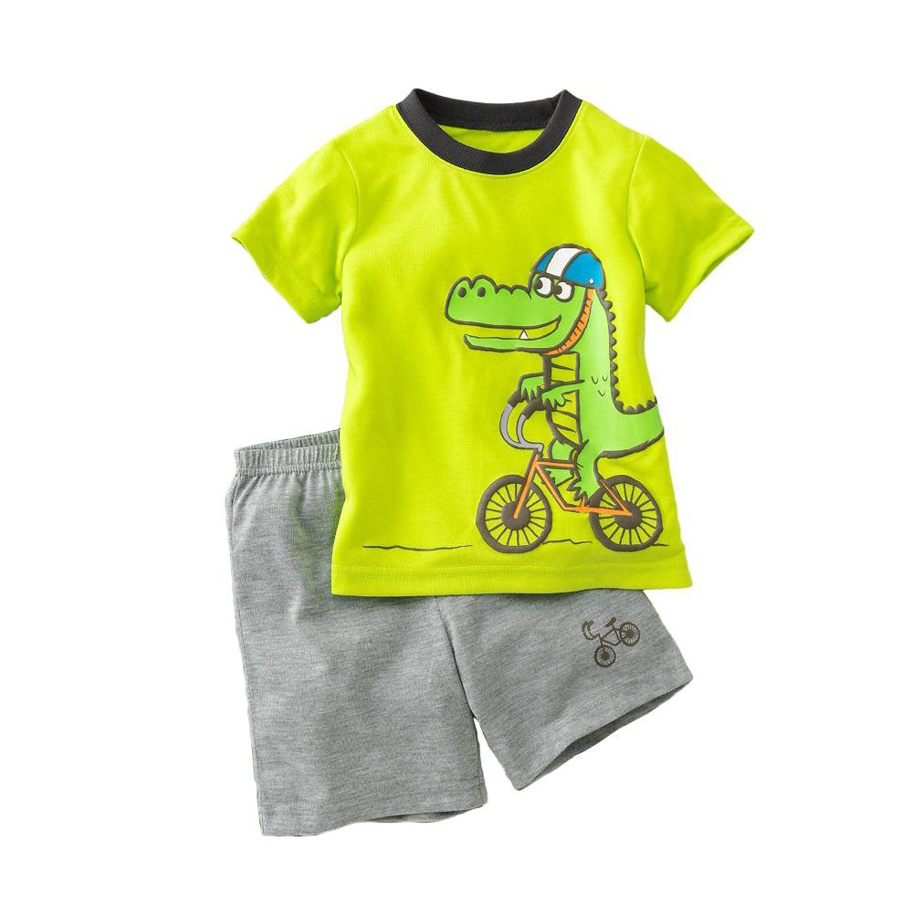 2017 dino boys suits pajamas summer tracksuits children 39 s T shirt and shorts pyjamas