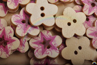 Wood   Wholesale ~ 100 pcs 18MM Stars Printed Flower-shaped Wood Sewing Buttons & DIY Scrapboo