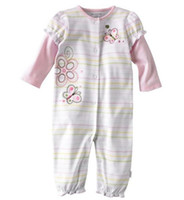 0-3 Months Girl Summer flower baby rompers bodysuits pajamas toddler jumpsuit new born one-pieces stripe babywear girls jumpers overalls body suits tops W63